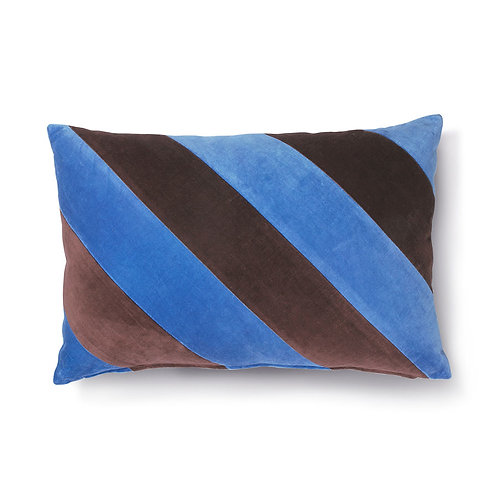 Blue Plum Velvet Striped Cushion