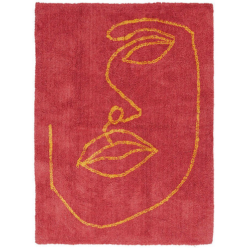 Red Organic Cotton Abstract Face Rug - Line Art Rug