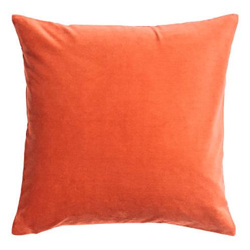 Orange Cotton Velvet Cushion