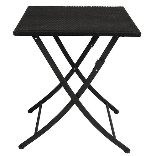 Black Rattan PU Folding Cafe Patio Table