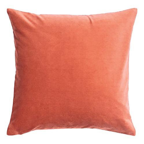 Coral Peach Velvet Cushion