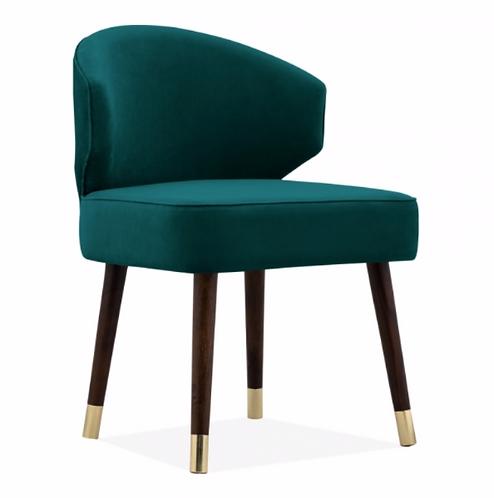 Boutique Teal Velvet Upholstered Dining Chair