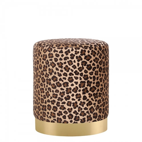 Leopard Velvet Tulsi 42cm Stool - Gold base