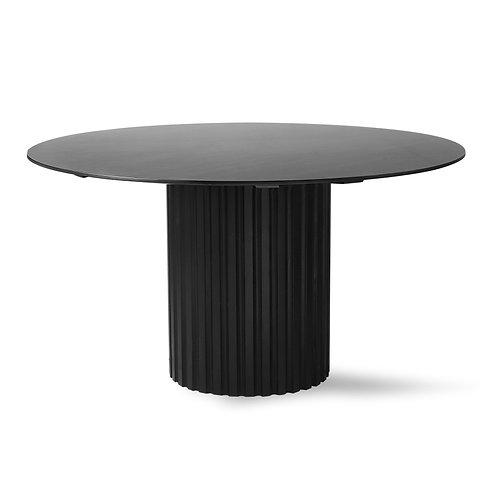 Black Round Pillar Dining Table.