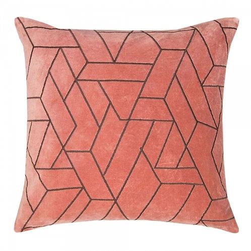Peach Velvet Textured Cushion