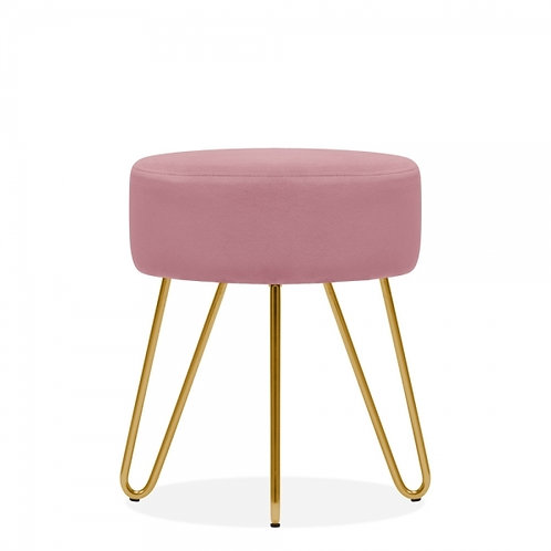 Aeda Light Pink Velvet 45cm Low Stool - Gold Leg Base