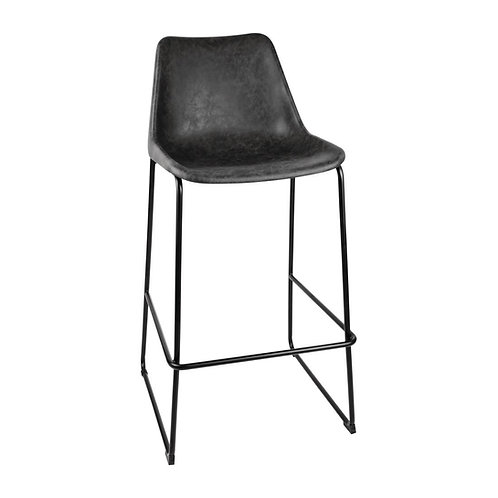 Bobby, Black Bar-Stool, Modern Organic, Eco Leather High Stool Coffee or Natural