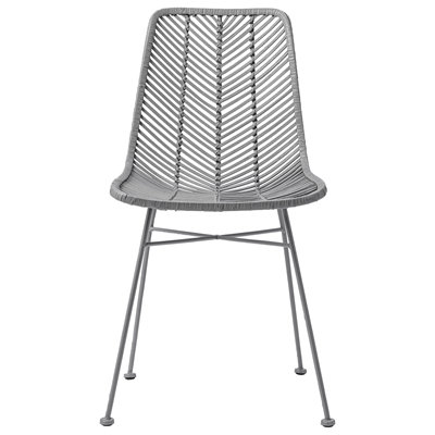 Grey Rattan Dining Side Chair with black legs