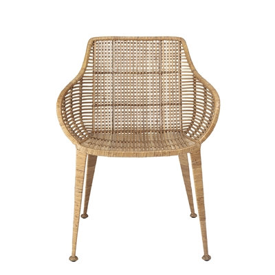 Natural Woven Cane Rattan Retro Dining ArmChair -
