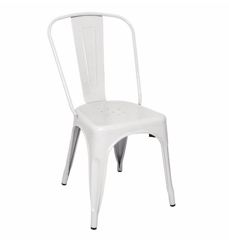 White Industrial style metal dining side chair