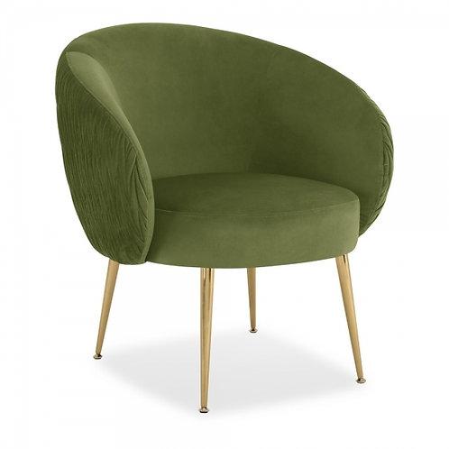 Olive Art Deco Velvet Accent Chair