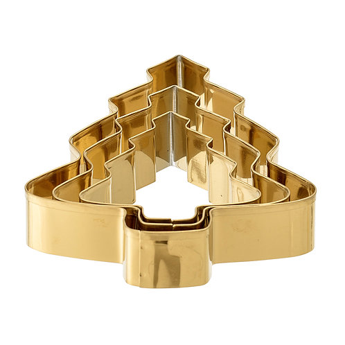 Gold Cookie Cutter - Tree Set - Stainless Steel