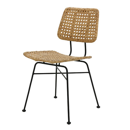 Woven Cane Rattan Retro Dining or Desk Chair - Natural or Black