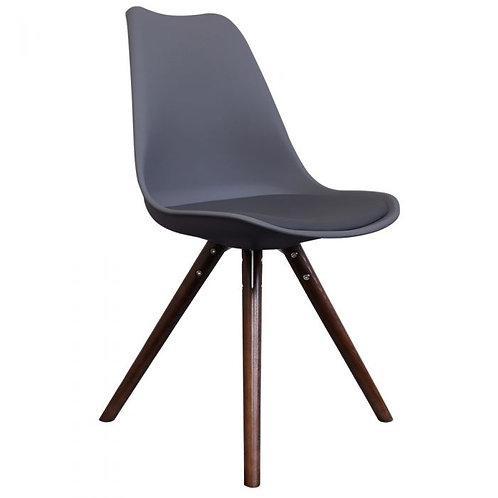 Scandi Style Dining Chair, Walnut Pyramid Leg