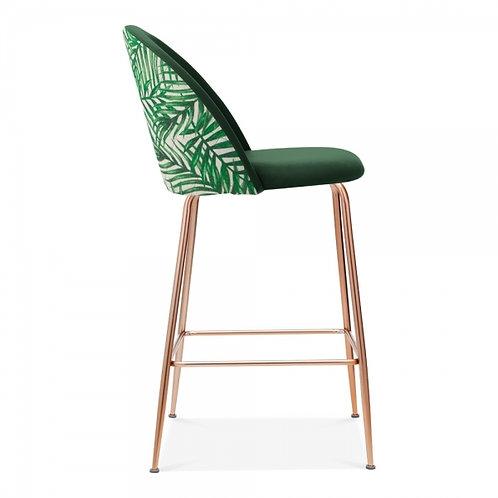 Print or Plain Velvet bar stool, copper legs