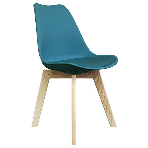 Scandi Style Dining Chair - Modern X Square Base in Natural Wood or Walnut