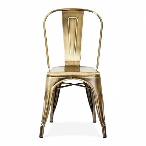 Brass Industrial Style metal dining side chair