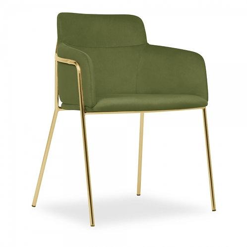 Sophia Moss Green Velvet Dining Chair Brass Frame