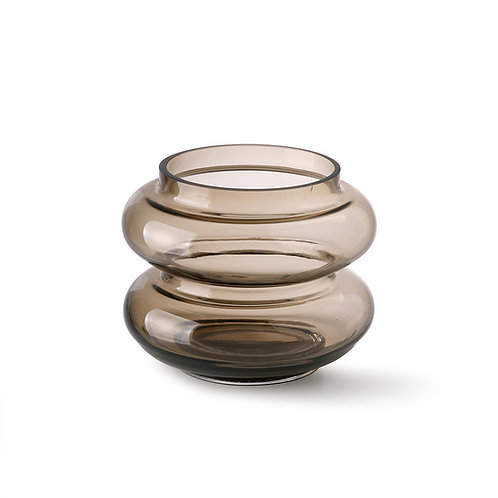 Grey Smoked Glass Bubble Vase