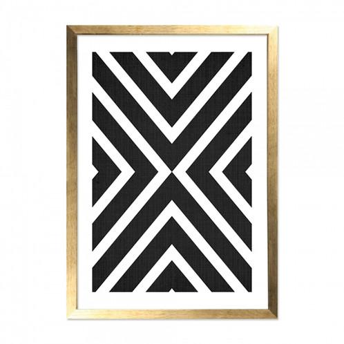 Framed Art - Black & White Gold - Chevron Cross Print -Monochrome