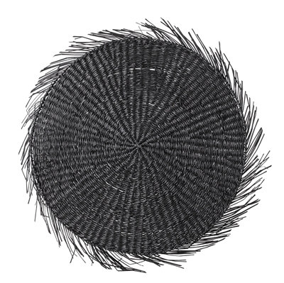 Black Round Seagrass Fringed Placemat