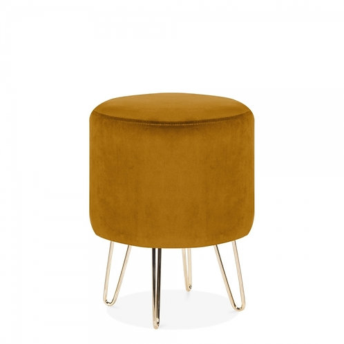 Ochre Velvet Tara 40cm Low Stool - Gold Leg Base
