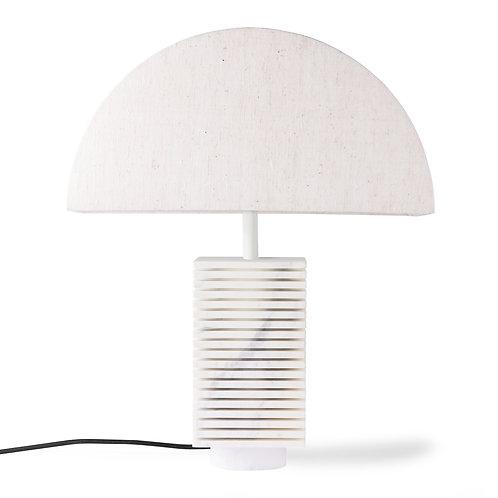 White Marble Ribbed Lamp Base