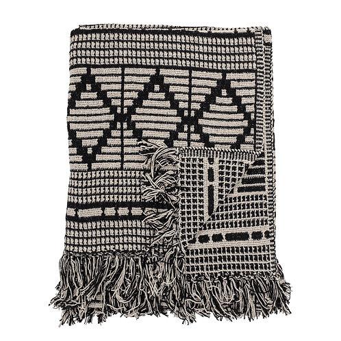 Recycled Cotton Woven Throw - Diamond design fringe detail
