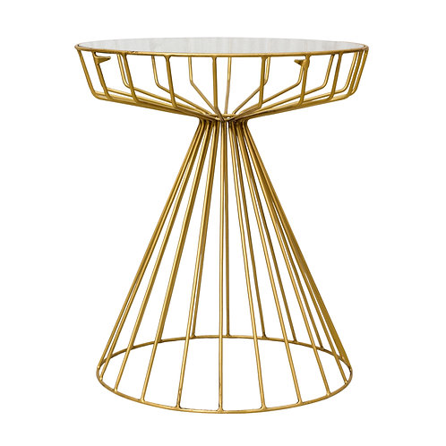 Antique Gold Hourglass Side Table - Glass Top