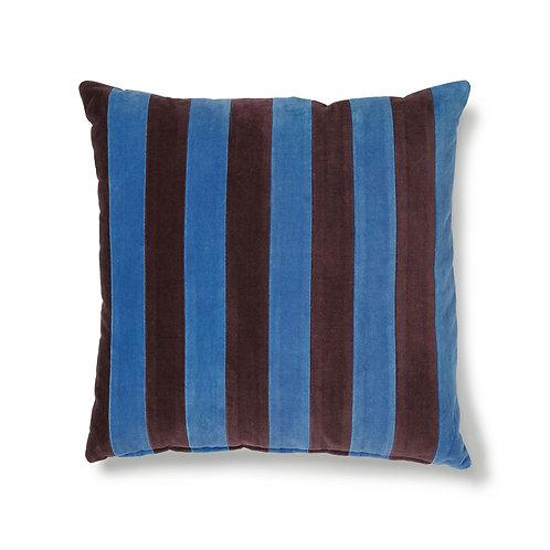 Striped Blue Velvet Cushion