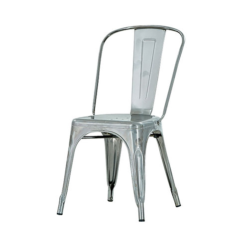 Metal Monochrome Industrial style metal dining side chair