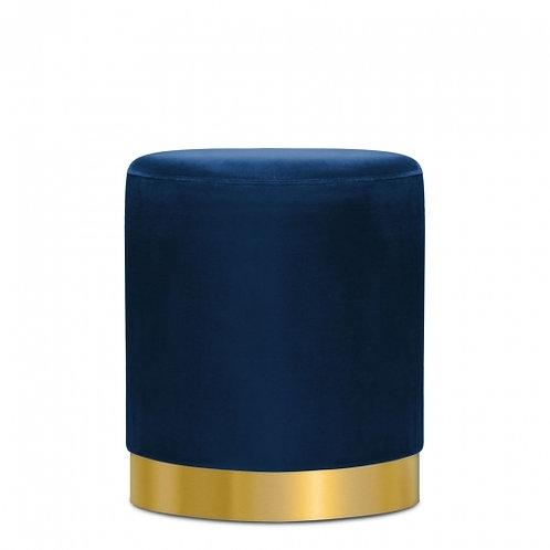 Navy Blue Velvet Stool Tulsi 42cm Stool - Gold base Art Deco