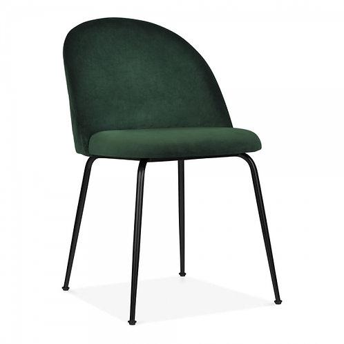 Green Velvet - dining chair, black or brass legs, velvet upholstered