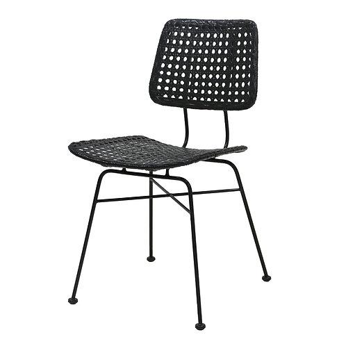 Woven Cane Rattan Retro Dining or Desk Chair - Black