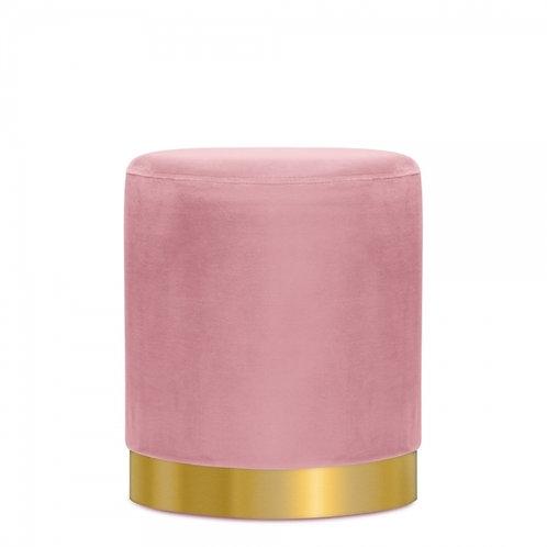 Pink Velvet Tulsi 42cm Stool - Gold base