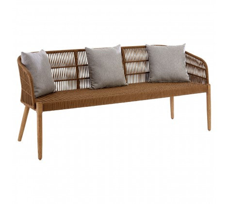 3 x Seater Amalfi Garden Sofa Bench - Natural with pillows