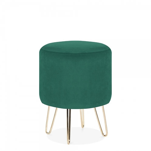 Emerald Green Velvet Tara 40cm Low Stool - Gold Leg Base