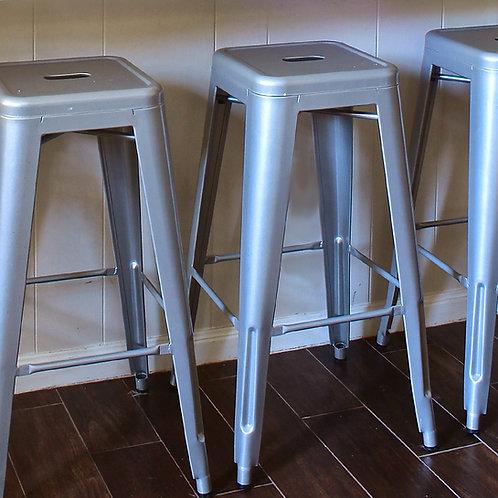 Bistro Bar Stool Silver Grey Metal, Set Of Four