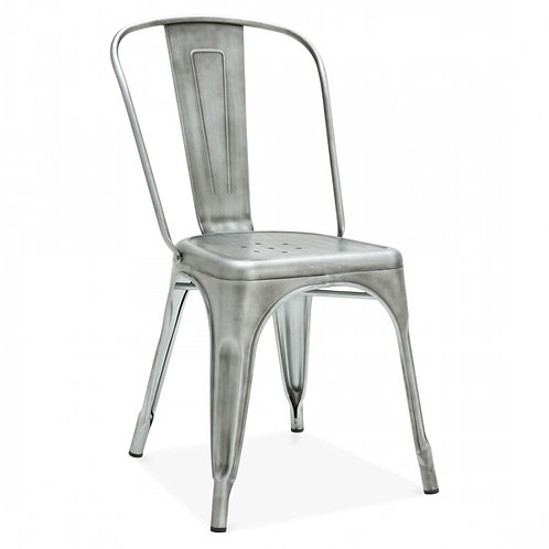 Silver Industrial style metal dining side chair