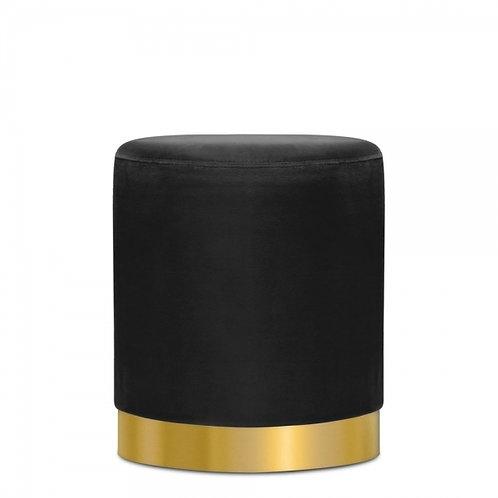 Black -Velvet Tulsi 42cm Stool - Gold base