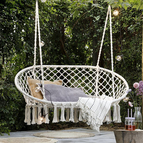 Natural Cotton, Macrame Hanging Hammock Chair  - Swing