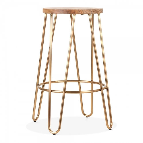 Brass or Copper Hairpin Industrial Stool - Counter Height