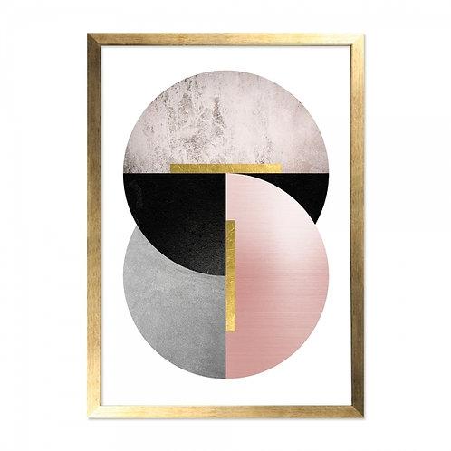 Framed Art - Blush, Gold Moon Print - Blush/Marble/Black