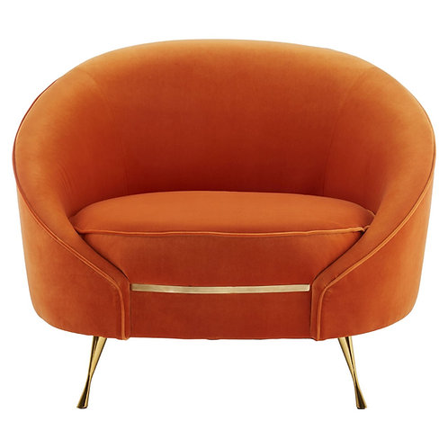 Cleo Orange Art Deco Velvet Lounge Chair, Brass Frame