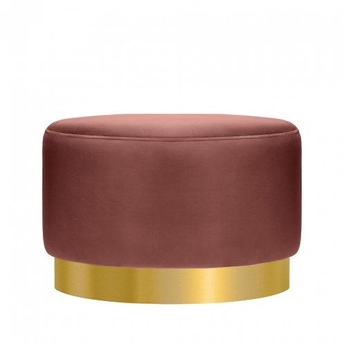 Terracotta -Velvet Ottoman 40cm Stool - Gold base