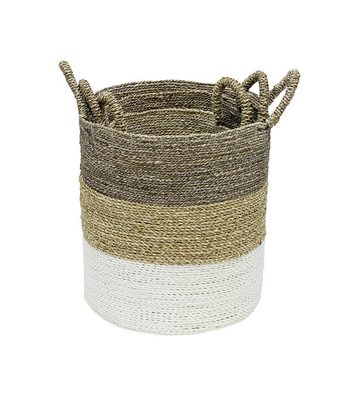 Basket Nest of 3 - Natural Woven Storage Baskets - Natural Top
