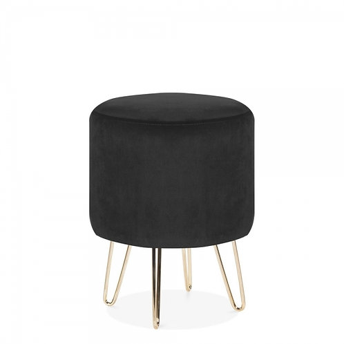 Soft Black Velvet Tara 40cm Low Stool - Gold Leg Base