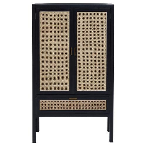 Black Obi Rattan Clothing Cabinet - (Wardrobe)