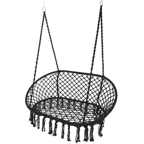 Black Macrame Hanging Hammock Chair  - Swing