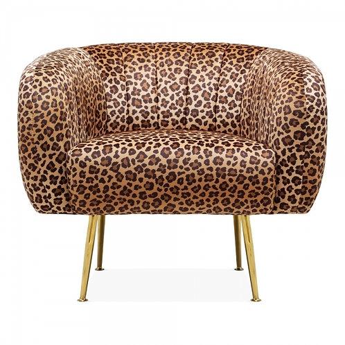 Velvet Leopard Print Art Deco Arm Chair - Aalto Velvet Tub Accent Chair